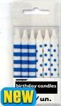 Narozeninové svíčky - pruhy a puntík -  modré - 12ks
