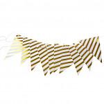 Girlanda vlajky - zlatá s proužky - 300 cm