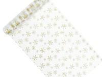 Organza šerpa - bílá se zlatými vločkami - 4,5m