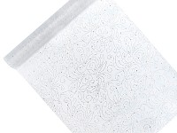 Organza šerpa - bílá se stříbr.ornamenty - 48cm/1 m