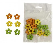 Dřevěné kytičky 2 cm - barevný mix - 12ks