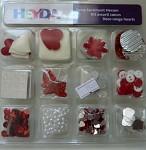 Dekorace scrapbook - srdce - mix - 12 druhů