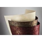 Tvrdý perleťový papír - krémový s růžemi - A4