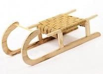 Sáňky dřevěné natural s pletením - 40 cm