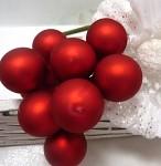 Baňky na drátku jasně červené 20mm - 1ks - matné