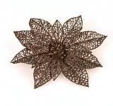 Květ poinsettia glitr s klipem - černý