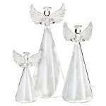 Skleněný anděl s peřím - 15 cm