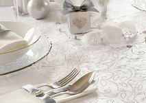 Organza šerpa - bílá se stříbr.ornamenty - 48cm/ 9m