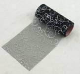 Organza stuha glitr arabeska - černo - stříbrná