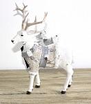 Jelen vánoční glitr se šálou stojící - 22 cm