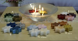 Plovoucí svíčky - hvězdy 4 ks - mix se třpytkami