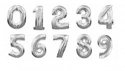 Foliový balonek maxi  - číslo - stříbrný