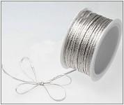 Stuha satén 3mm - bílo-stříbrná - 1m