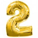 Foliový balonek maxi  - číslo 2  - zlatý