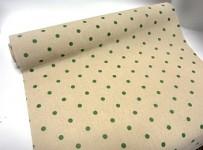 Jutová šerpa natural - se zelenými puntíky - 1 m