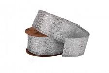 Stuha metalická stříbrná - 4cm - 4,6m