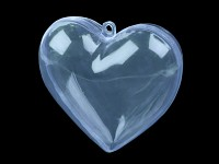 Závěsné srdce plastové - průhledné modré
