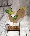 Slepička dřevěná na stojánku malá - zeleno-žlutá