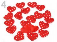 Srdíčka látková - červená s bílými puntíky - 20ks