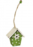 Dřevěná budka květinová - zeleno-bílá