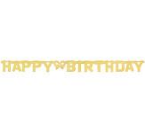 Girlanda černé vlajky - Happy birthday s číslem k nalepení