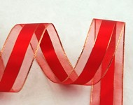 Stuha se třpytivým lemem - červená 4cm - 1m
