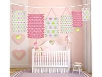 Girlanda papírová s lampiony - 1.narozeniny - holka