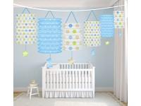 Girlanda papírová s lampiony - 1.narozeniny - kluk