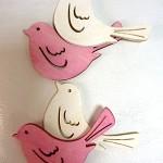 Ptáček dřevěný bílo-růžový mix - 6 ks