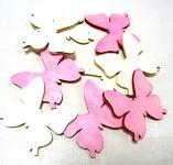 Dřevění motýlci 4cm - mix bílo-růžový - 6 ks