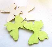 Dřevění motýlci 4cm - mix bílo-zelený - 9ks