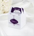 Krabička dárková s ouškem malá - tm.fialová vzor