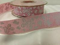 Stuha imitace pytloviny -růžová 25mm- motýlci - 1m