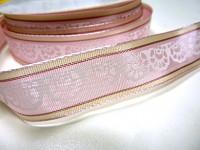 Stuha s krajkovým motivem - růžová s drátem - 1m