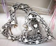 Srdce maxi klacíky bílo-šedé - 57 cm