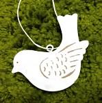 Plechový ptáček - bílý