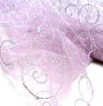 Organza bledě růžová se stříbrnými ornamenty - 10m