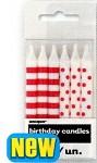 Narozeninové svíčky - pruhy a puntík -  červené - 12ks