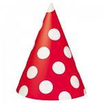 Party čepičky papírové - červenobílé- 8 ks