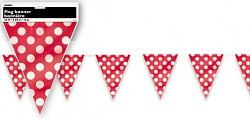 Girlanda vlajky - červené s puntíky