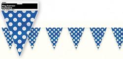 Girlanda vlajky - modré s puntíky