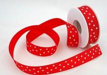Saténová stuha 25 mm  - červená s puntíky - 1m