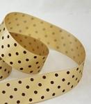 Dekorační stuha 40mm - zlatá s hnědými puntíky