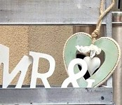 Srdce dřevěné s plechovým srdíčkem - mátové