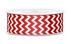 Rypsová stuha chevron 25 mm  - červenobílá - 1 m
