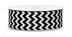 Rypsová stuha chevron 25 mm  - černobílá - 10 m