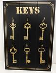 Věšák na klíče - černo/zlatý KEYS