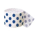 Krepová stuha - bílá s tm.modrými puntíky - 9m