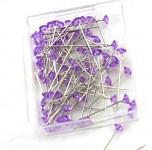 Špendlíky  - diamant malinký fialový - 72 ks