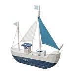 Loďka dřevěná - 30 x 33 cm - bílo-modrá